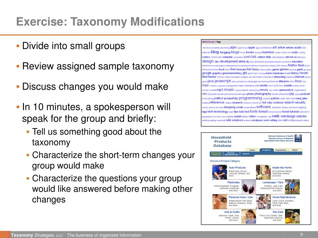 Exercise: Taxonomy Modifications
