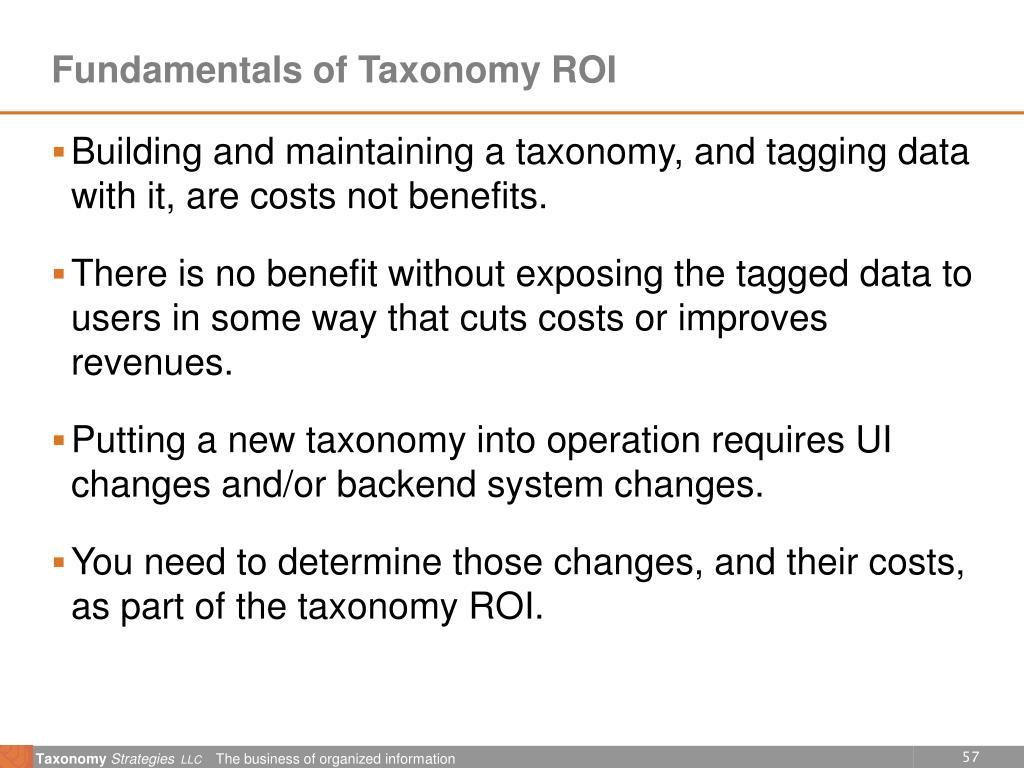 Fundamentals of Taxonomy ROI