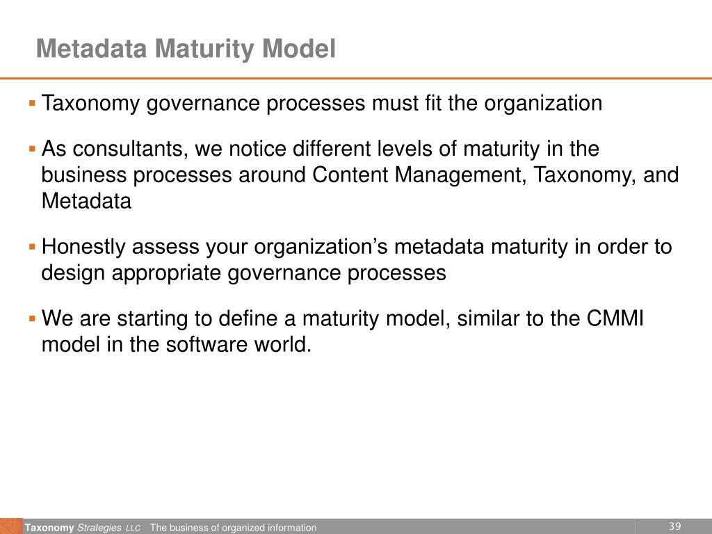 Metadata Maturity Model
