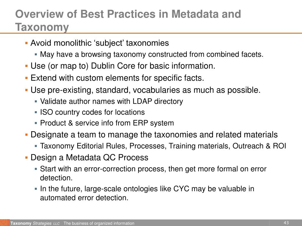 Overview of Best Practices in Metadata and Taxonomy