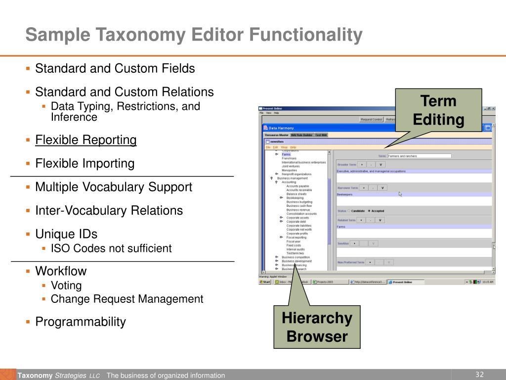 Sample Taxonomy Editor Functionality