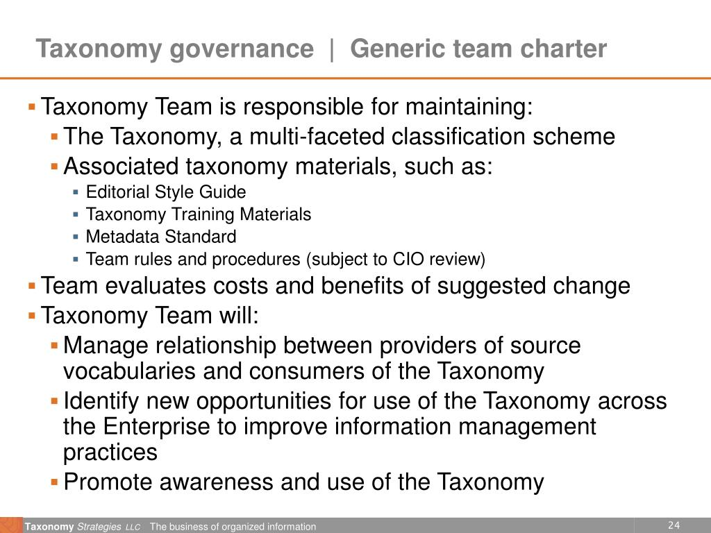Taxonomy governance  |  Generic team charter