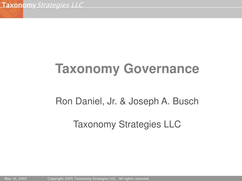 Taxonomy Governance