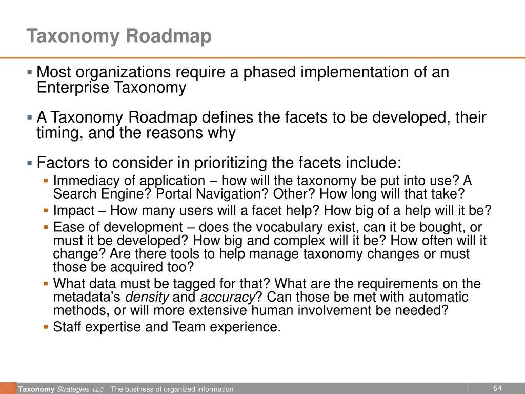 Taxonomy Roadmap