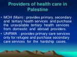 providers of health care in palestine
