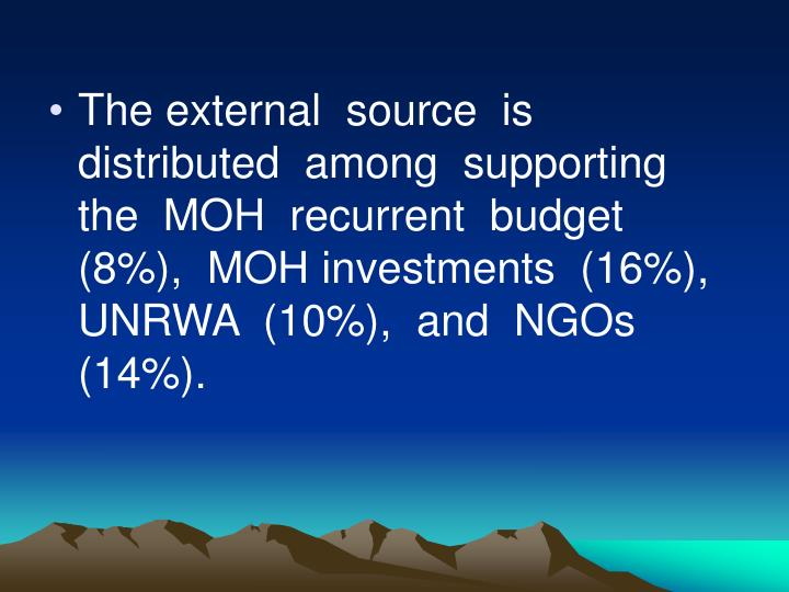 The external  source  is  distributed  among  supporting  the  MOH  recurrent  budget  (8%),  MOH investments  (16%),  UNRWA  (10%),  and  NGOs  (14%).