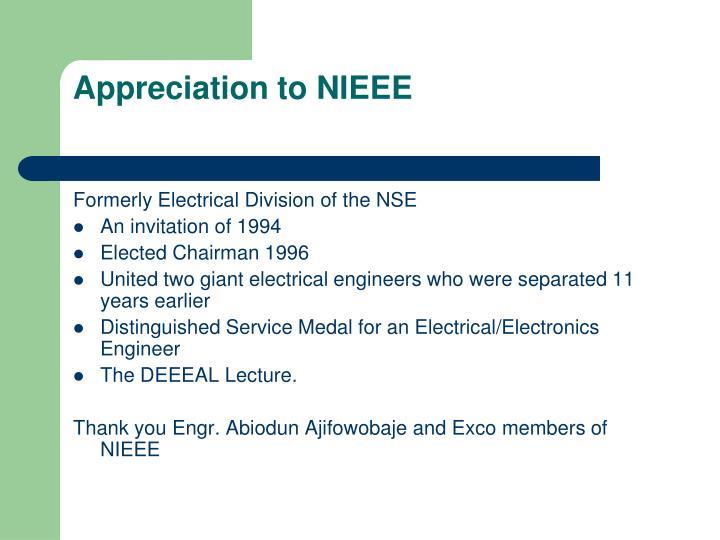 Appreciation to NIEEE