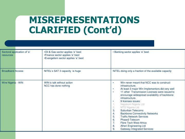 MISREPRESENTATIONS CLARIFIED (Cont'd)