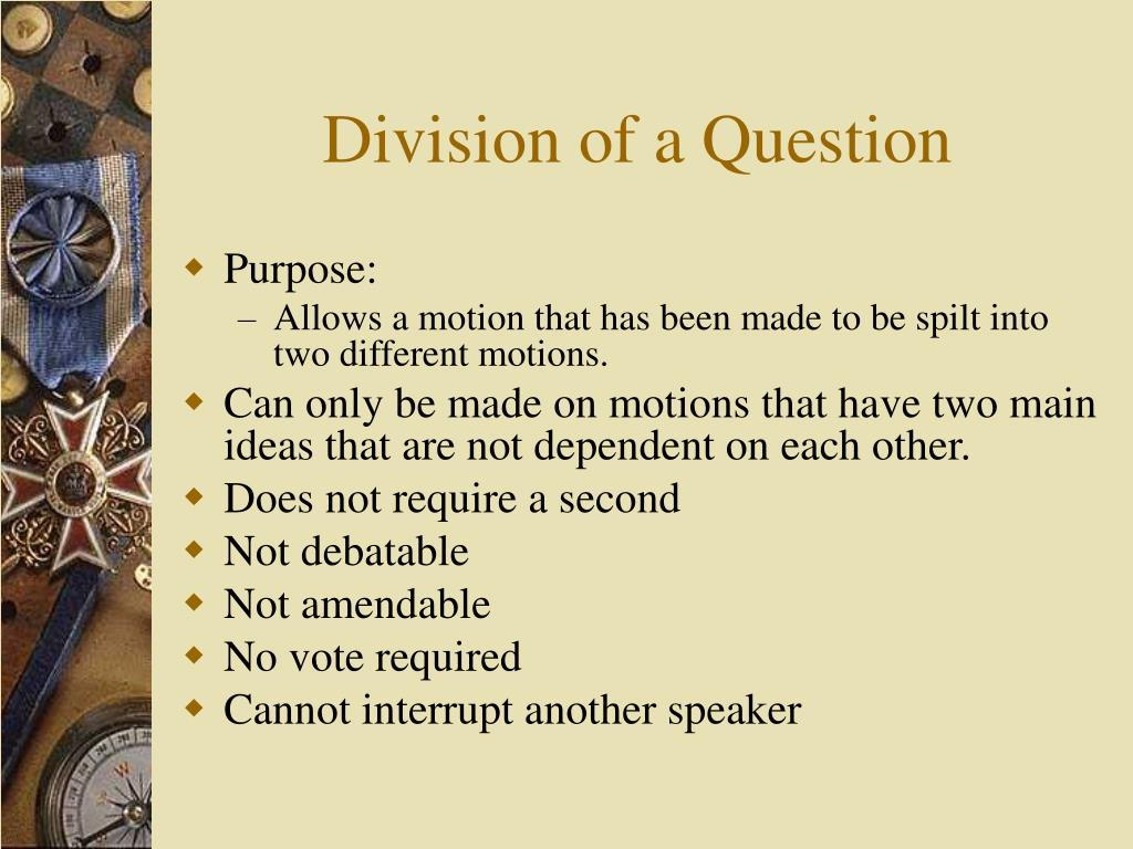 Division of a Question
