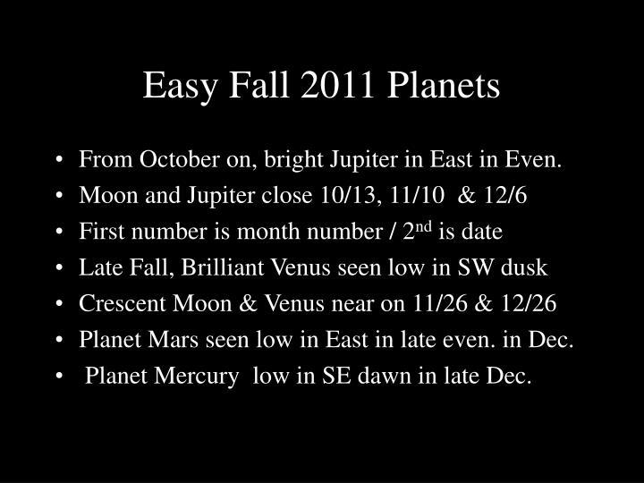 Easy Fall 2011 Planets