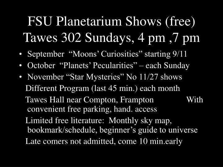 FSU Planetarium Shows (free)