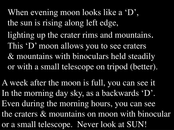 When evening moon looks like a 'D',
