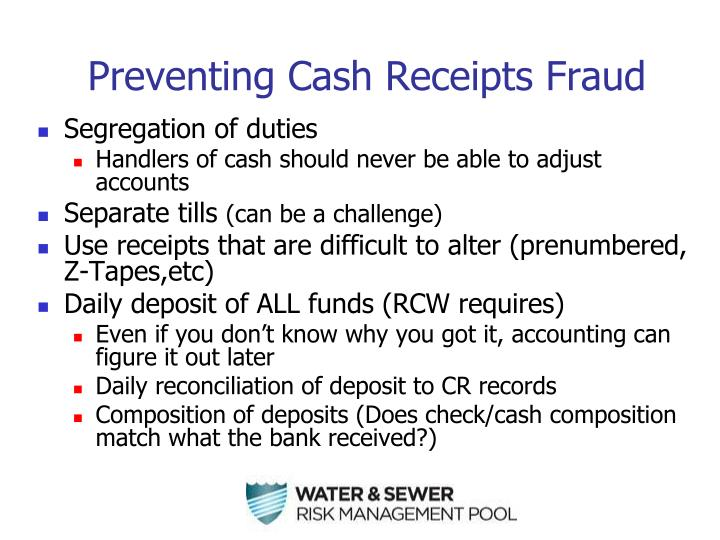 Preventing Cash Receipts Fraud