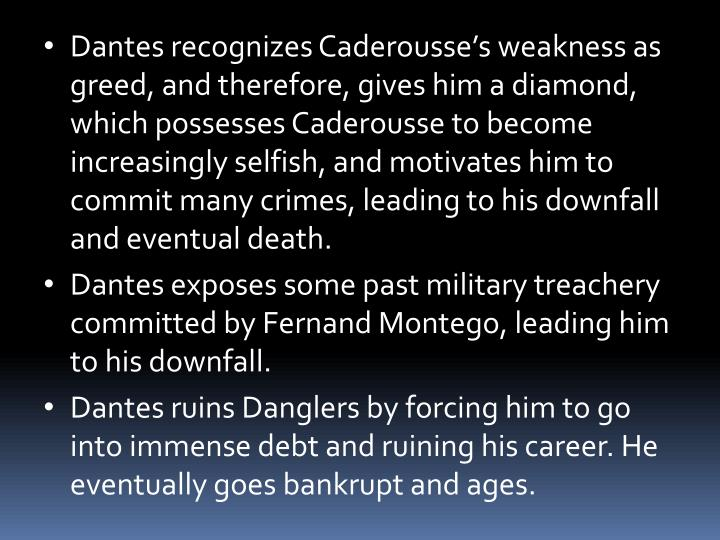 Dantes recognizes Caderousse's weakness as greed, and therefore, gives him a diamond, which possesses Caderousse to become increasingly selfish, and motivates him to commit many crimes, leading to his downfall and eventual death.