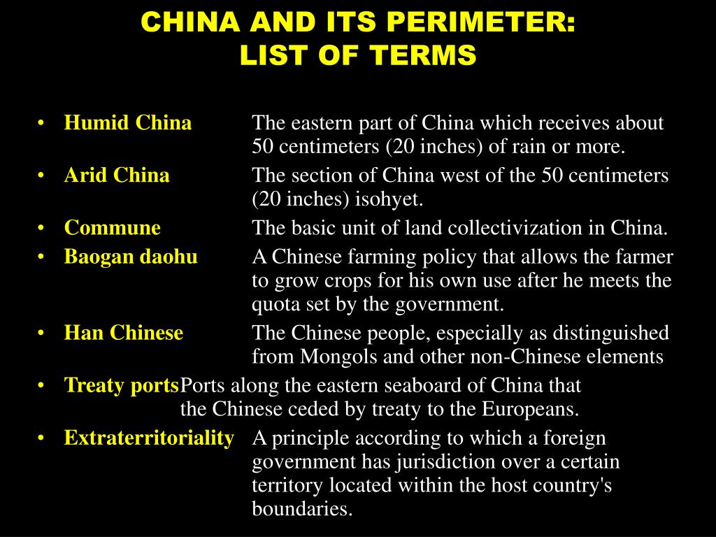 CHINA AND ITS PERIMETER: