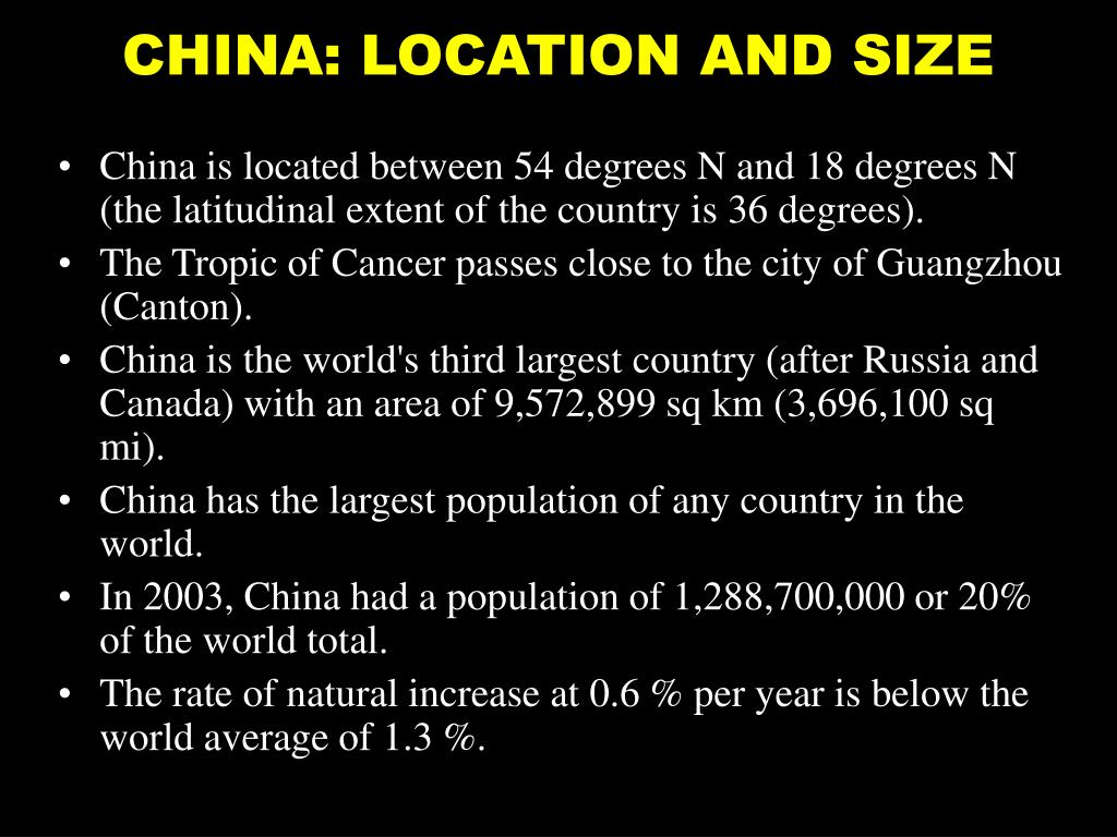 CHINA: LOCATION AND SIZE