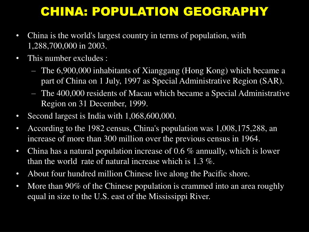 CHINA: POPULATION GEOGRAPHY