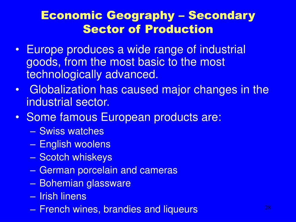 Economic Geography – Secondary Sector of Production