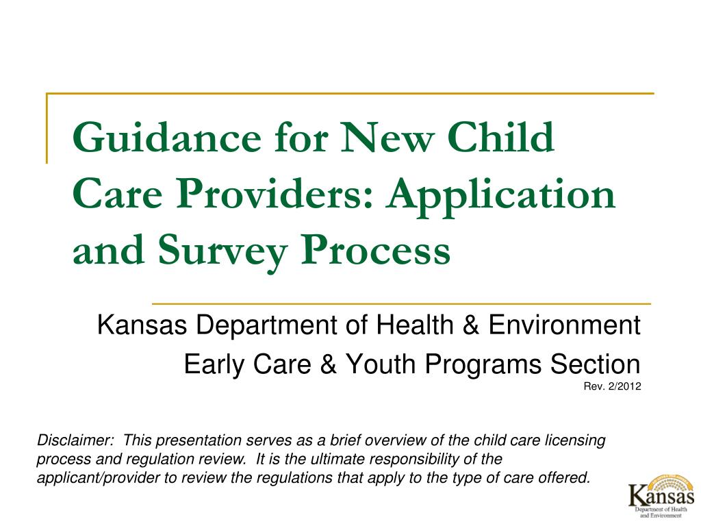 Guidance for New Child Care Providers: Application and Survey Process