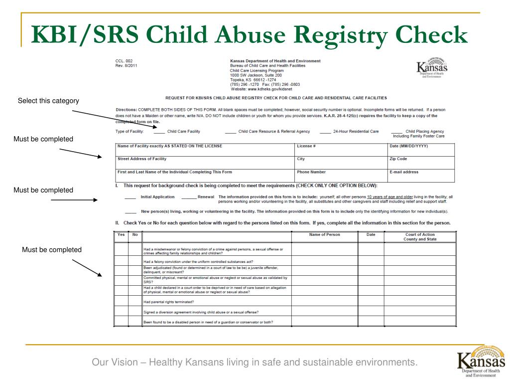KBI/SRS Child Abuse Registry Check