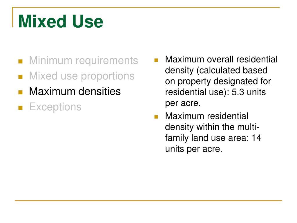 Minimum requirements