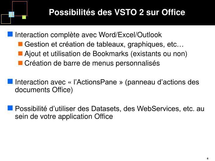 Possibilités des VSTO 2 sur Office