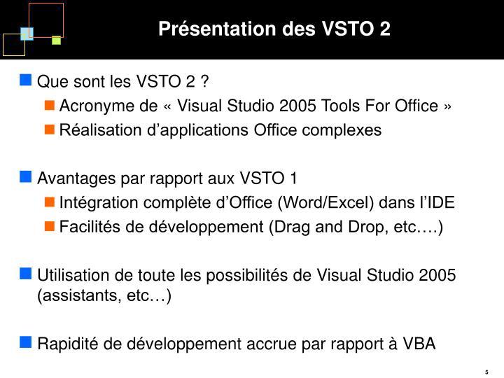 Présentation des VSTO 2