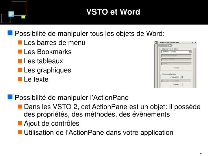 VSTO et Word