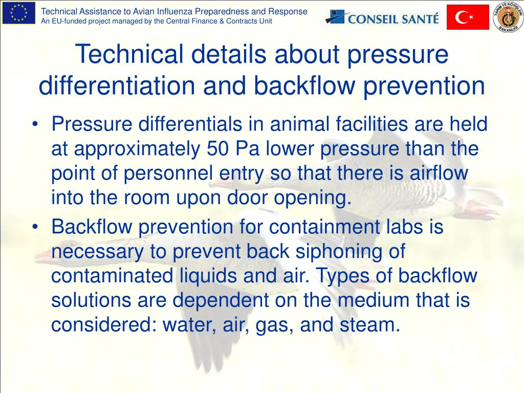 Technical details about pressure differentiation and backflow prevention