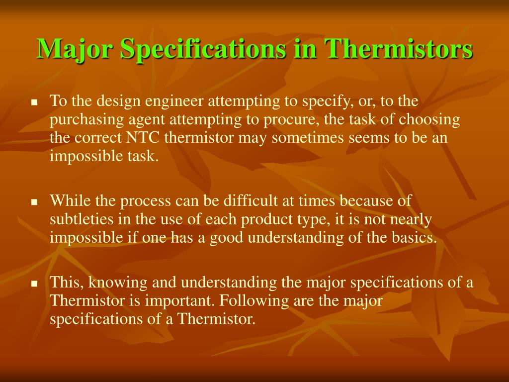 Major Specifications in Thermistors