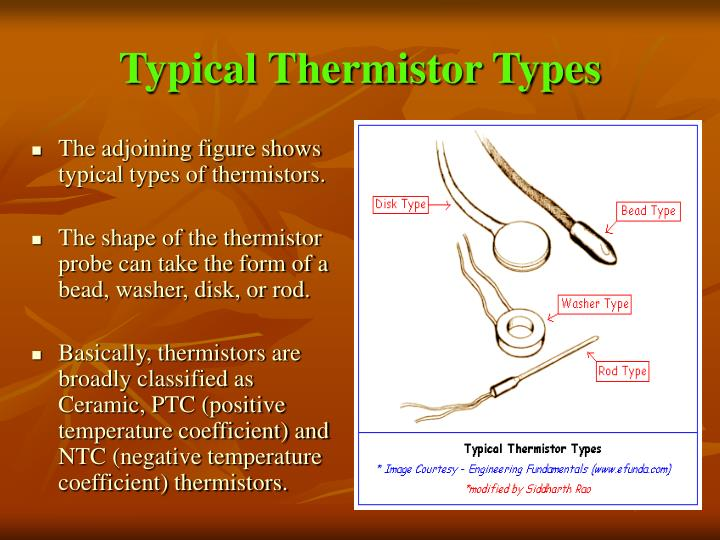 Typical thermistor types