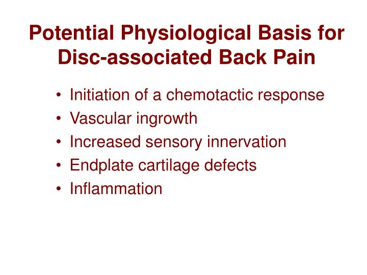 Potential Physiological Basis for Disc-associated Back Pain