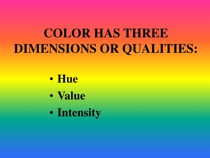 Color has three dimensions or qualities