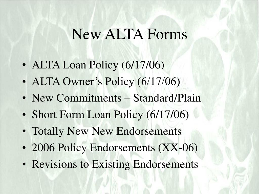 New ALTA Forms