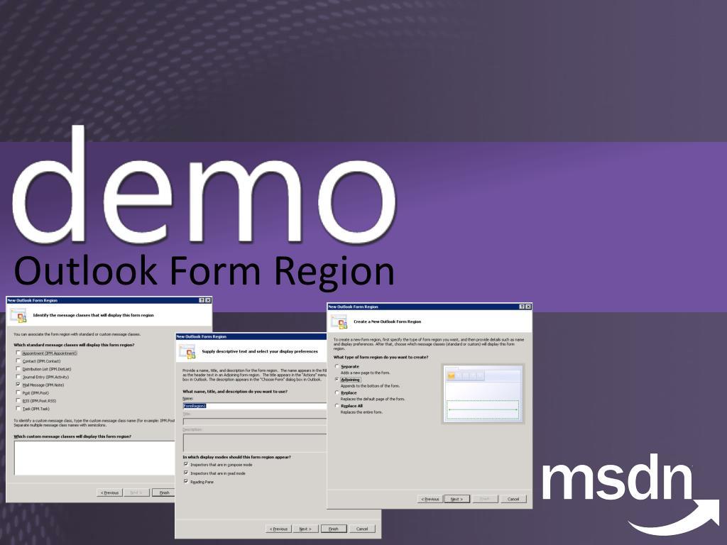 Outlook Form Region