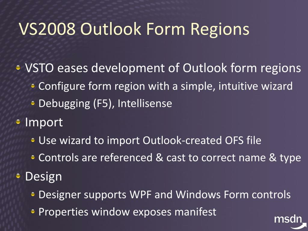 VS2008 Outlook Form Region