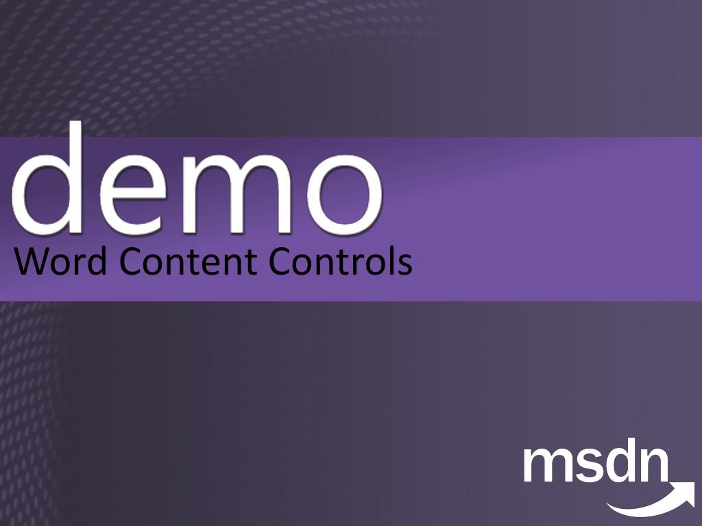 Word Content Controls