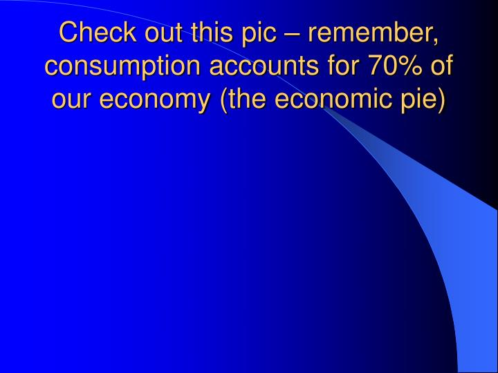 Check out this pic – remember, consumption accounts for 70% of our economy (the economic pie)
