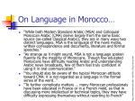on language in morocco