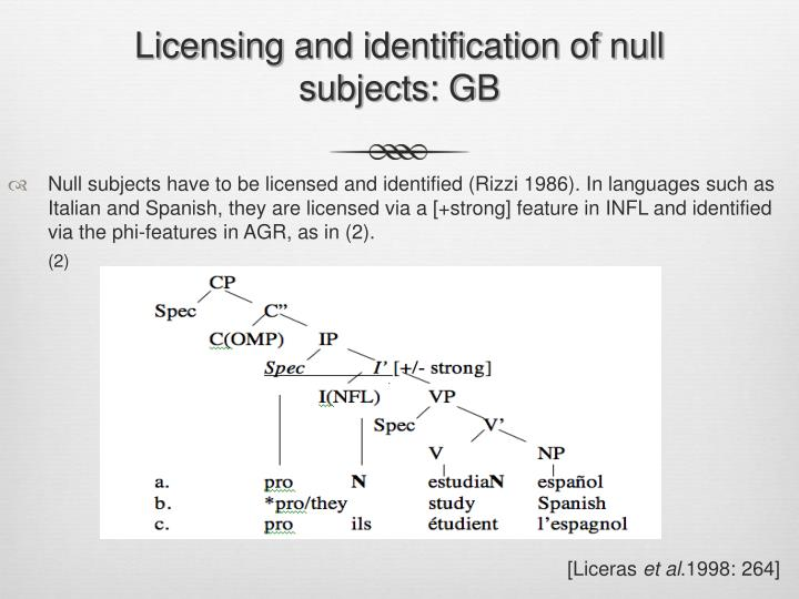 Licensing and identification of null subjects: GB
