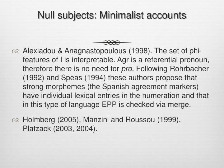 Null subjects: Minimalist accounts