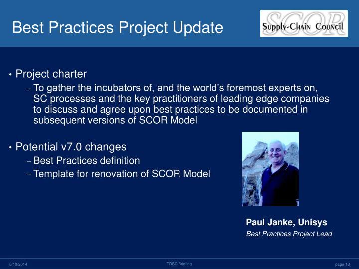 Best Practices Project Update