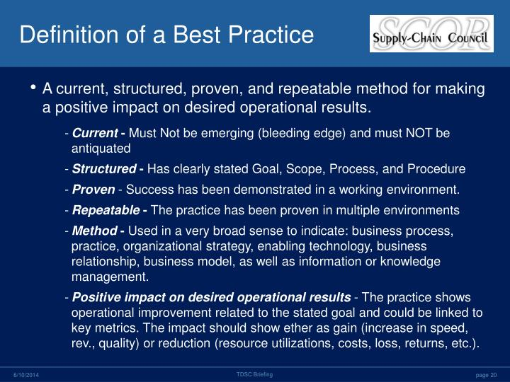 Definition of a Best Practice