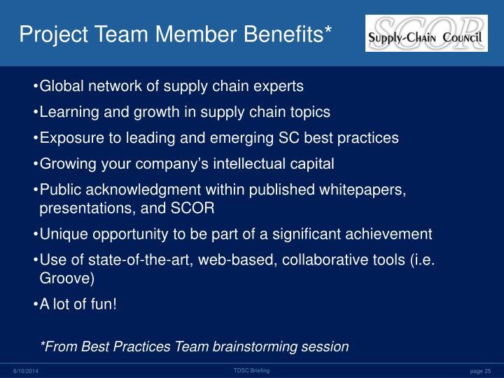 Project Team Member Benefits*