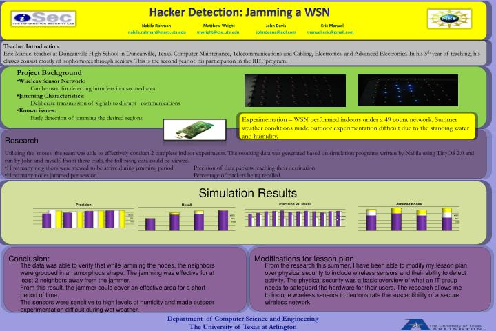 Hacker Detection: Jamming a WSN