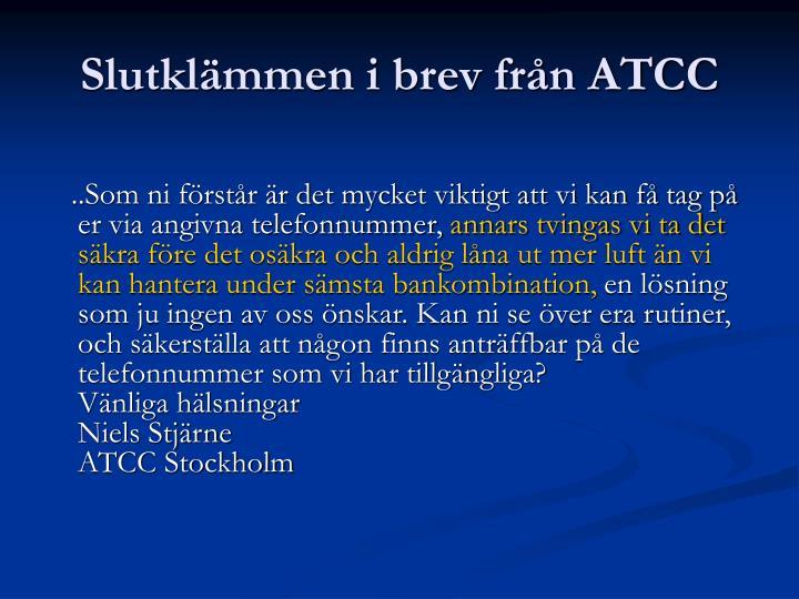 Slutklämmen i brev från ATCC