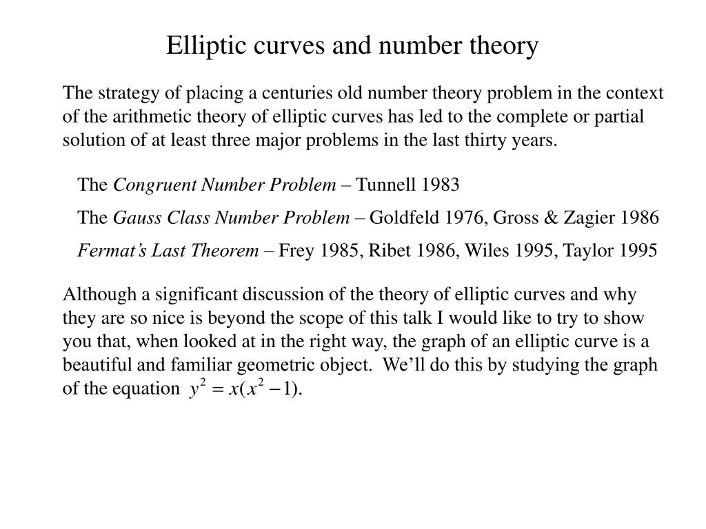 Although a significant discussion of the theory of elliptic curves and why they are so nice is beyond the scope of this talk I would like to try to show you that, when looked at in the right way, the graph of an elliptic curve is a beautiful and familiar geometric object.  We'll do this by studying the graph of the equation