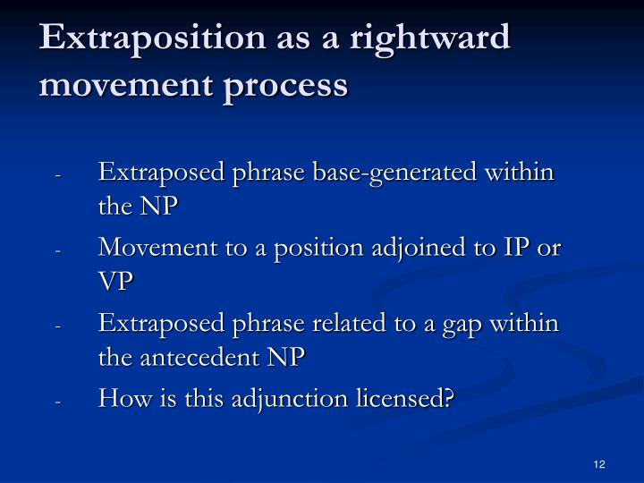 Extraposition as a rightward movement process