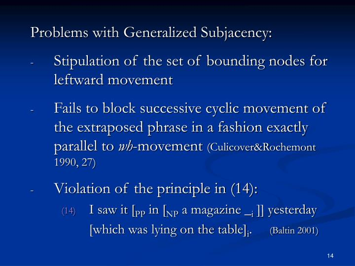 Problems with Generalized Subjacency: