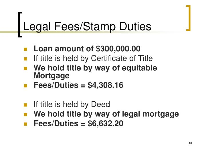 Legal Fees/Stamp Duties